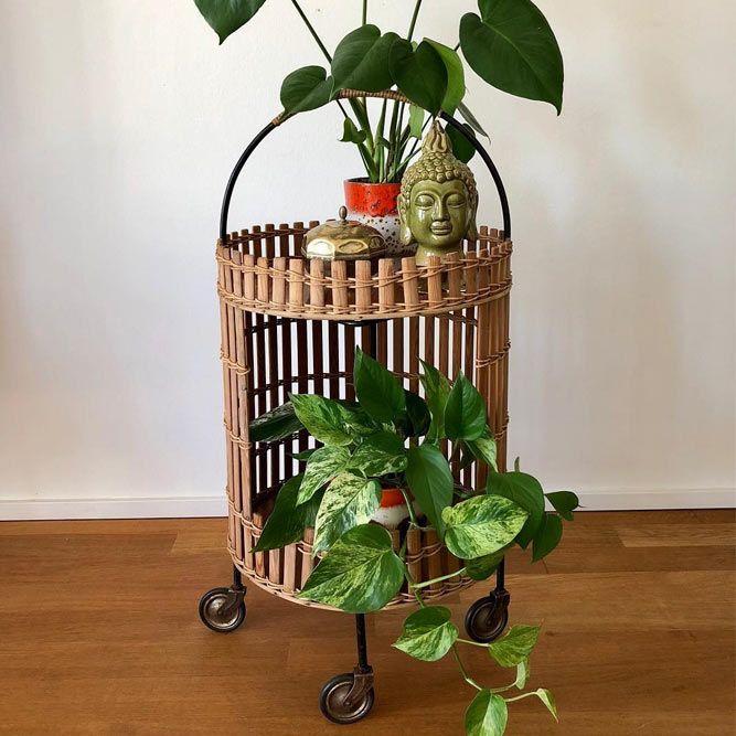 Support de plantes à rouleaux en bois